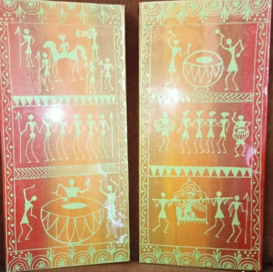 set of two warli painting, 7 x 15 inch, namita sahoo,7x15inch,canvas board,paintings,figurative paintings,folk art paintings,multi piece paintings,warli paintings,paintings for dining room,paintings for living room,paintings for bedroom,paintings for office,acrylic color,ADR21432031048