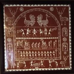 warli painting in brown - 22x22