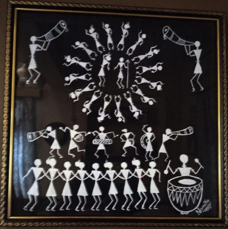 warli in black, 16 x 16 inch, namita sahoo,16x16inch,cloth,paintings,figurative paintings,folk art paintings,minimalist paintings,warli paintings,paintings for dining room,paintings for living room,paintings for office,paintings for hotel,acrylic color,ADR21432031051