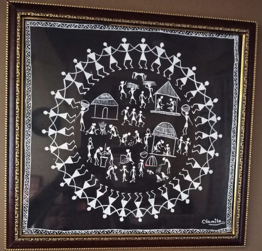 warli painting, 18 x 17 inch, namita sahoo,18x17inch,cloth,paintings,figurative paintings,folk art paintings,warli paintings,paintings for dining room,paintings for living room,paintings for office,paintings for hotel,acrylic color,ADR21432031052