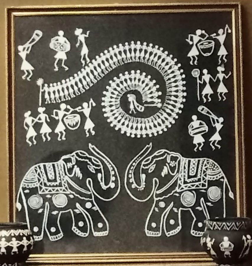 warli elephants, 17 x 19 inch, namita sahoo,17x19inch,cloth,paintings,figurative paintings,folk art paintings,art deco paintings,minimalist paintings,elephant paintings,warli paintings,paintings for dining room,paintings for living room,paintings for bedroom,paintings for office,paintings for hotel,fabric,ADR21432031053