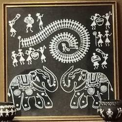 warli elephants - 17x18.5
