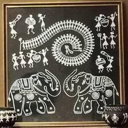 warli elephants - 17x18.5