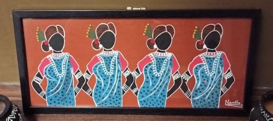 women in warli, 18 x 8 inch, namita sahoo,18x8inch,cloth,paintings,figurative paintings,folk art paintings,art deco paintings,illustration paintings,warli paintings,paintings for living room,paintings for bedroom,paintings for office,paintings for hotel,fabric,ADR21432031056