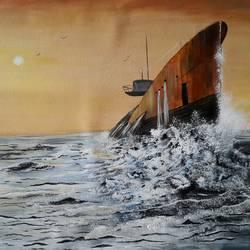 Seascape  - Raising submarine size - 22x18In - 22x18