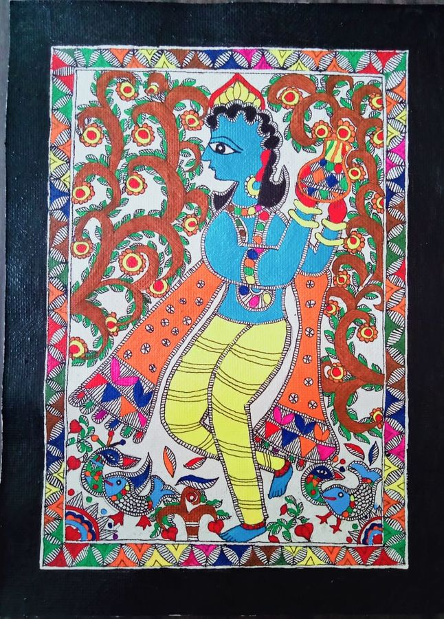 'matki-wale' krishna in jovial mood, 15 x 11 inch, nimisha kumari,15x11inch,handmade paper,religious paintings,radha krishna paintings,madhubani paintings | madhubani art,paintings for dining room,paintings for living room,paintings for bedroom,paintings for office,paintings for kids room,paintings for hotel,paintings for schools & colleges,paintings for dining room,paintings for living room,paintings for bedroom,paintings for office,paintings for kids room,paintings for hotel,paintings for schools & colleges,acrylic color,mixed media,paper,ADR21746031060