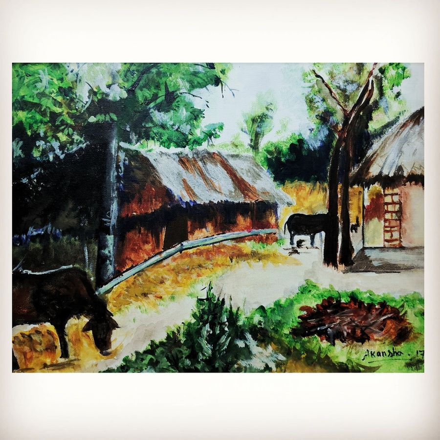 village , 24 x 30 inch, akangsha shaw,24x30inch,canvas,paintings,landscape paintings,still life paintings,nature paintings | scenery paintings,paintings for dining room,paintings for living room,paintings for bedroom,paintings for office,paintings for bathroom,paintings for kids room,paintings for hotel,paintings for kitchen,paintings for schools & colleges,paintings for hospital,acrylic color,mixed media,watercolor,ADR21818031086