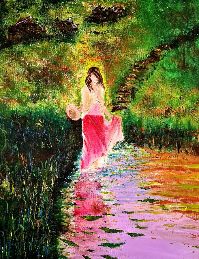 girl in secret lake, 16 x 20 inch, akrosh saxena,16x20inch,canvas,paintings,abstract paintings,paintings for dining room,paintings for living room,paintings for bedroom,paintings for office,paintings for bathroom,paintings for kids room,paintings for hotel,paintings for kitchen,paintings for schools & colleges,paintings for hospital,acrylic color,ADR21819031094