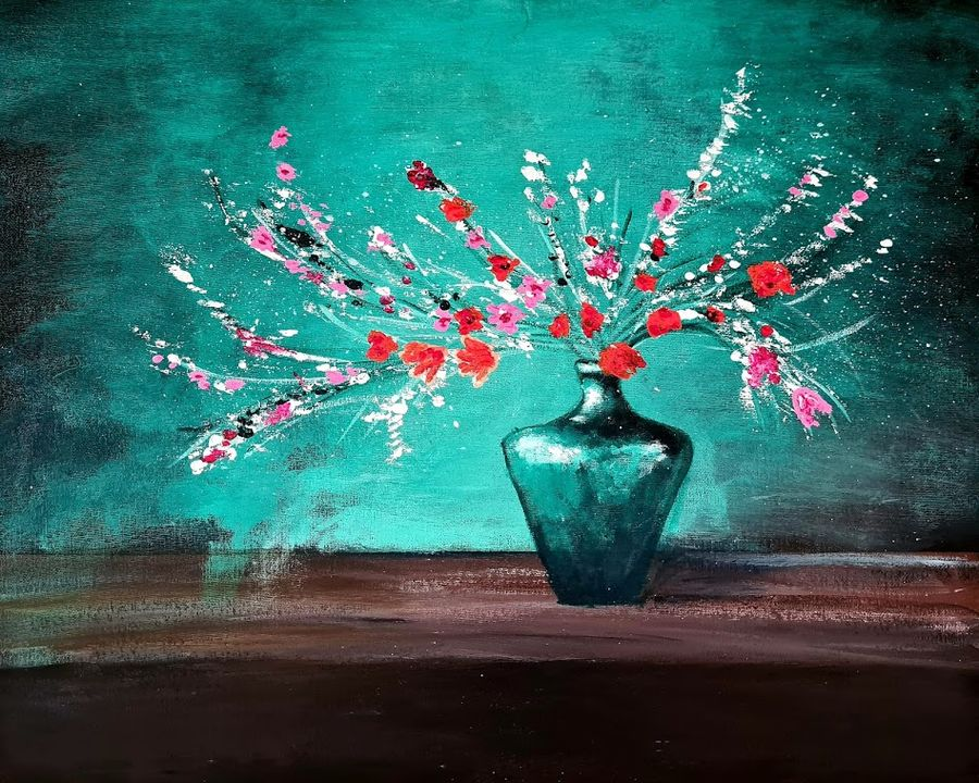beautiful flower vase, 20 x 16 inch, akrosh saxena,20x16inch,canvas,paintings,flower paintings,paintings for dining room,paintings for living room,paintings for bedroom,paintings for office,paintings for bathroom,paintings for kids room,paintings for hotel,paintings for kitchen,paintings for schools & colleges,paintings for hospital,acrylic color,ADR21819031095