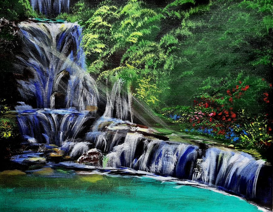 beautiful waterfall, 20 x 16 inch, akrosh saxena,20x16inch,canvas,paintings,landscape paintings,nature paintings | scenery paintings,paintings for dining room,paintings for living room,paintings for bedroom,paintings for office,paintings for bathroom,paintings for kids room,paintings for hotel,paintings for kitchen,paintings for schools & colleges,paintings for hospital,acrylic color,ADR21819031096
