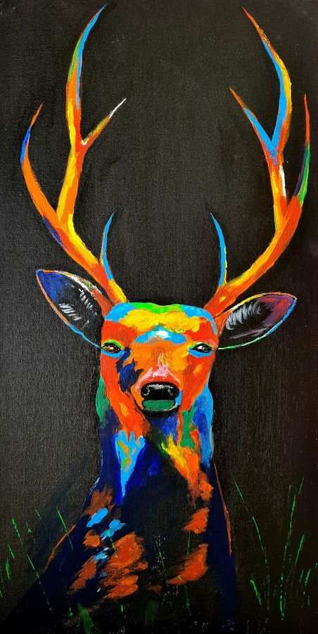 beautiful deer, 12 x 24 inch, akrosh saxena,12x24inch,canvas,paintings,wildlife paintings,paintings for dining room,paintings for living room,paintings for bedroom,paintings for office,paintings for bathroom,paintings for kids room,paintings for hotel,paintings for kitchen,paintings for schools & colleges,paintings for hospital,acrylic color,ADR21819031097