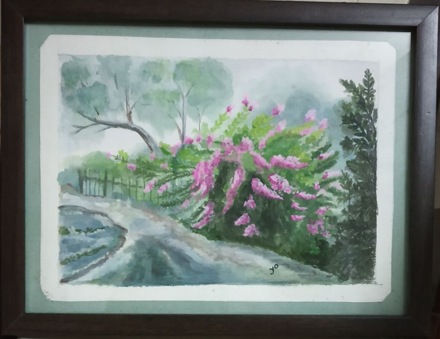 bougenville, 7 x 9 inch, yogini joshi,7x9inch,thick paper,landscape paintings,watercolor,ADR21811031100