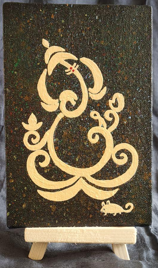 ganpati bappa, 4 x 6 inch, yogini joshi,4x6inch,canvas,paintings,figurative paintings,religious paintings,ganesha paintings | lord ganesh paintings,acrylic color,ADR21811031103