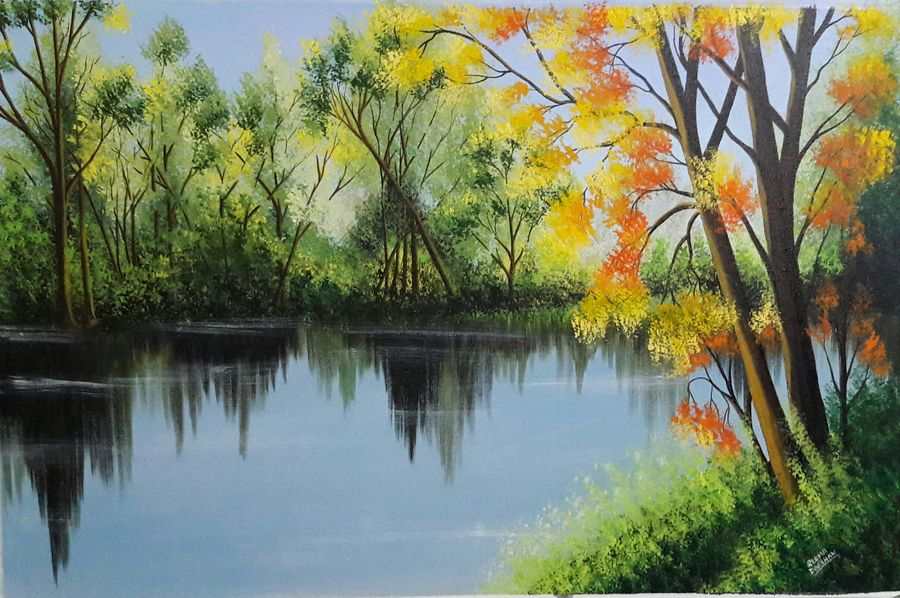 spring trees near lakeside, 37 x 24 inch, reema ravindran,37x24inch,canvas,paintings,landscape paintings,acrylic color,ADR18773031106