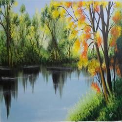 Spring trees near lakeside - 37x24