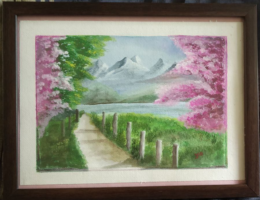 snow mountains and cherry blossom, 11 x 9 inch, yogini joshi,11x9inch,thick paper,paintings,flower paintings,landscape paintings,nature paintings | scenery paintings,poster color,ADR21811031107