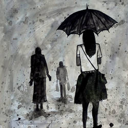 Umbrella-With-Girl-2017 size - 14x11In - 14x11