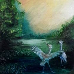 Two White Cranes size - 9x10In - 9x10