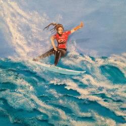 Surfing  size - 24x18In - 24x18