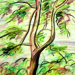 Green Tree  size - 7x10In - 7x10