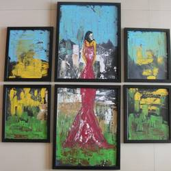 Abstract art 6 pieces size - 36x36In - 36x36