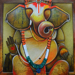 Ganesha  tunes of devotion size - 24x24In - 24x24