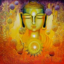 Glimpse of Buddhas Enlightenment size - 30x30In - 30x30