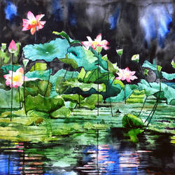 Lotus Pond size - 18x18In - 18x18