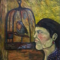 Woman and Bird size - 17.7x22.8In - 17.7x22.8