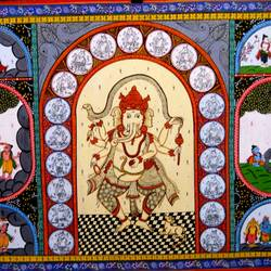 Ganesha Poses With Story in Tiny Images size - 40x24In - 40x24