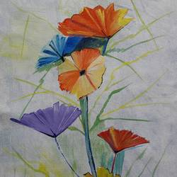 Abstract art - floral size - 13x18In - 13x18