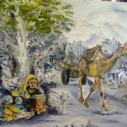 Rajasthani Village Depicting Tradition  size - 16x12In - 16x12