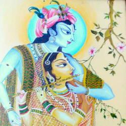 Vrindavan Chandra Chandrika (Shri Radhe-Krishna) size - 23.5x33.5In - 23.5x33.5