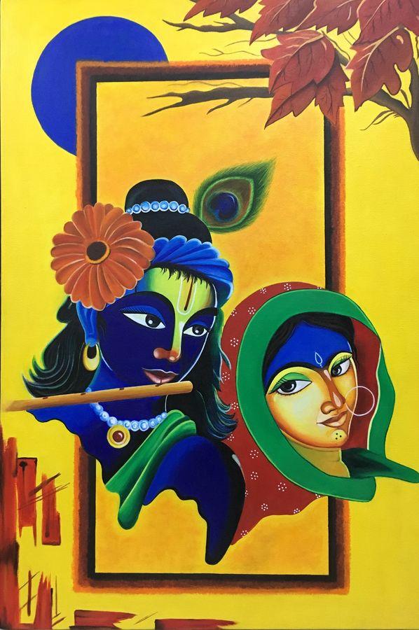 the divine love, 24 x 38 inch, nisha agarwal,radha krishna paintings,paintings for living room,canvas,acrylic color,24x38inch,radhakrishna,love,lord,flute,music,krishna,radha,religious,GAL020375668,the divine love size - 24x38in,ADR920375668