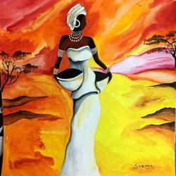 Figurative Modern Art-African Tribal Woman size - 10.5x12.5In - 10.5x12.5