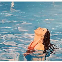 Woman in swimming Pool size - 11x8.5In - 11x8.5