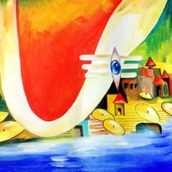 Modern Art-Shiv Ki Nagari size - 16x12In - 16x12