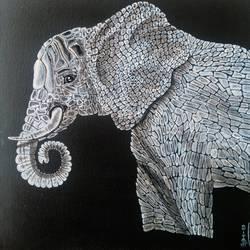 Elephant 1 I'm not alone size - 12x12In - 12x12