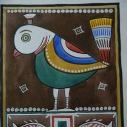 BIRD IN JAMINI ROY STYLE size - 11x9In - 11x9