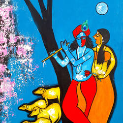 Romantic love Radha Krishna size - 14x18In - 14x18