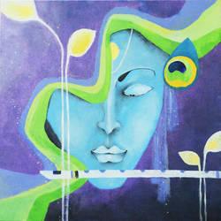 Mystic Krishna II  size - 19x19In - 19x19