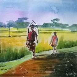 Way Back Home - Kharibari West Bengal size - 20.5x13.5In - 20.5x13.5