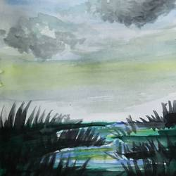 Swamp and the dull sky size - 11.69x16.53In - 11.69x16.53
