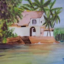Sea side Villa in Goa size - 12x16In - 12x16