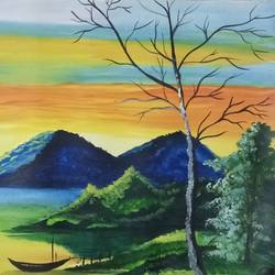 Beautiful Natural River And Landscape size - 22x14In - 22x14