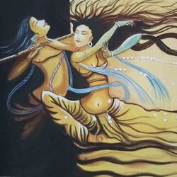 Radha Krishna Rasleela size - 22x15In - 22x15