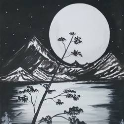Night Landscape With Moonlight  size - 14x22In - 14x22