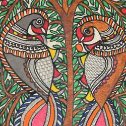 Madhubani  -Beautiful--of-two-peacock-sitting-on-Tree size - 7x11In - 7x11