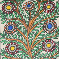 Madhubani -Colourful-flowers-enhancing-the-beauty-of-a-tree size - 7x11In - 7x11