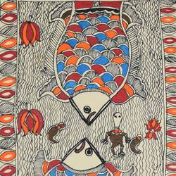 Madhubani  - Fishes size - 7x11In - 7x11